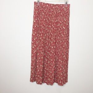Vintage floral midi skirt red tan fall small